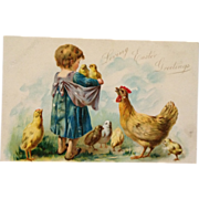 SOLD Tuck's-An Apron Full Of Chicks Peeping Easter Greetings