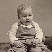 SALE Cabinet Card- Little Boy In Big Overalls With Hidden Mother