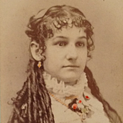"""SOLD Tinted CDV-""""Your Christmas Present"""" With Long, Long Curls - Red Tag Sale Item"""