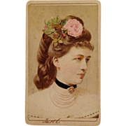 SOLD Carte De Visite: Elegant And Gorgeous Beauty With  Rose In Hair-Tinted - Red Tag Sale Ite