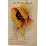 SALE Signed Black Americana Postcard UDB- Shy Little Girl In Bright Yellow Prairie Bonnet