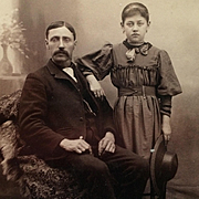 Cabinet Card- Proud Father With Daughter Holding Hat