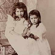 SALE PENDING Cabinet Card- Demure Dark Haired Little Sisters With Flowers