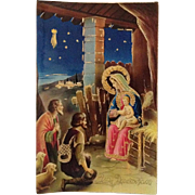SALE Gold Highlighted Nativity With Shepherds, Sheep And Shining Stars