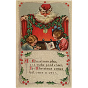 Santa Draped In Holly Watches Children