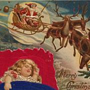 Sweet Dreams On Silk Pillow As Santa Flies By