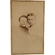 CDV- Civil War Era Siblings With Heads Together