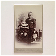 SALE CDV- A Boy, A Girl  And Their Faithful Dog Companion- On Chairs