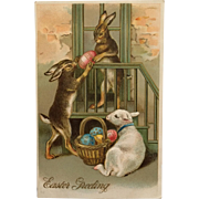 Bunnies And Lamb With Colored Eggs