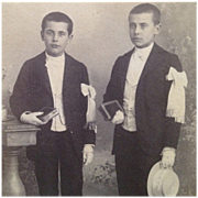 SOLD Cabinet Card-Two Boys In Dark Suits With Straw Boater Hats On First Communion Day