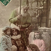 REDUCED Tinted-Old World Father Christmas In Green Robe And Angel Deliver Gifts