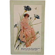 SOLD Postcard Nouveau Lady In Blue Flowers