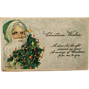 Santa In Green With Decorated Tree-Gassaway