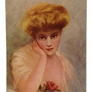 """Signed Kenyon- Beautiful Blonde With Rose """"In Dreamland"""""""
