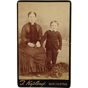 SALE CDV- Mother And Son With Sweet Dog At Their Feet