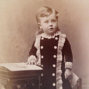 SOLD Carte De Visite- Little Boy From Scotland With Blond Curls, Velvet And Lace Trimmed Dress