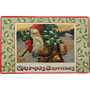 Santa In Brown And Red With Fruit