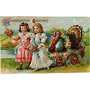 Thanksgiving Postcard Girls With Turkey Riding In Flowery Style