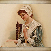 Lithograph-Beautiful 17th Century Puritan Girl With Pansies