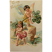 Valentine Cherubs Bring Good Luck Postcard