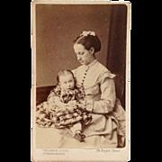 SOLD Carte De Visite- Victorian Era Mother Holds Baby Girl - Red Tag Sale Item