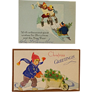 Vintage Christmas Cards- Kids With Sled And Pop Up Boy With Holly