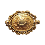 Fourteen karat yellow gold brooch adorned with flowers and leaves, 19th century