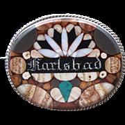 Oval Karlsbad brooch set in silver,19th century