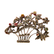SALE Antique silver brooch in the shape of a flower basket, 19th century