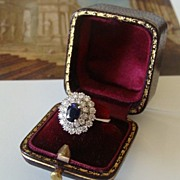 SOLD Sapphire and Diamond ring ,14k white gold