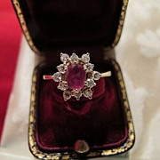 SOLD Ruby and Diamond ring set in fourteen karat white and yellow gold