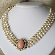 SOLD Cultured pearl triple strand necklace with Coral and Diamond clasp