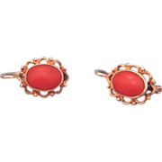 Fourteen karat and tomato red Coral earrings, ca. 1950