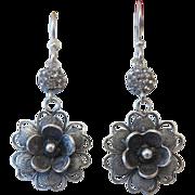 Silver dangle earrings with a Swarovski bead, ca. 1980