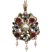 Antique gilt silver pendant with a big baroque pearl in the center, 1st half of 19th century