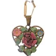 SALE Art Nouveau enamel heart shaped pendant, ca. 1900