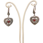 SALE Italian silver, Garnet and Marcasite  dangle earrings, ca.1970