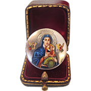 Antique Italian silver and enamel brooch depicting the Holy Virgin and the little Jesus, 19th