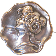 Art Nouveau silver brooch, partly gilded, ca.1900