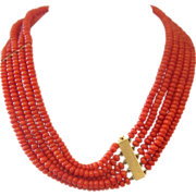 SOLD Exquisite five strand tomato red Coral bead necklace with 14K gold clasp, ca.1950