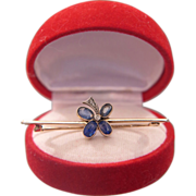 Victorian Sapphire brooch ,14k yellow gold, dated at 1872