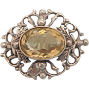 Antique yellow Topaz and silver brooch, 19th century