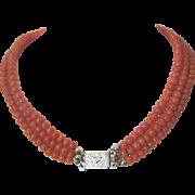 Art Deco three strand tomato red Coral bead necklace, ca. 1910