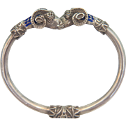 Victorian Etruscan style silver and enamel bangle, 19th century