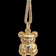 Fourteen karat yellow gold Teddy Bear pendant , ca. 1960
