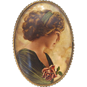 French Art Nouveau brooch hand painted on mother pearl, ca. 1900