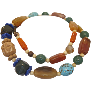 Necklace with  hand crafted semi precious stone beads,ca.1950