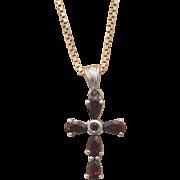 Garnet cross pendant, silver 925, ca. 1960