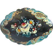 Russian lacquer flower brooch, 20th century