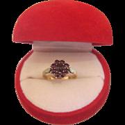 Bohemian  Gablonz Garnet ring, gilt silver, ca. 1930